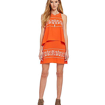 THML Embroidered Popover Shift Dress - Fiesta