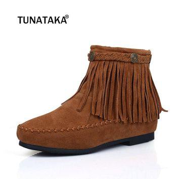 Women's Sued Leather Fringe Flat Ankle Boots Comfy Booties