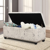 White Linen Fabric Storage Ottoman / Bench