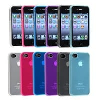 eForCity For Apple® iPhone® 4 4S TPU Rubber Skin Case Combo (6-pack): Clear Frost Smoke, Clear Fros