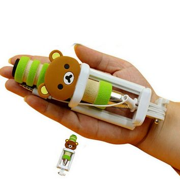 Best Gift Girls Boys Cute Bear Pocket Mini Selfie Stick for Any Cell Phone