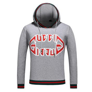 GUCCI Newest Fashion Men Casual Print Long Sleeve Pullover Top Sweater Grey