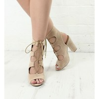 MADE YOU LOOK NUDE BLOCK HEELED SANDALS