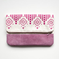 FINAL SALE Moroccan Pattern Printed  Leather Pouch No. ZP-804