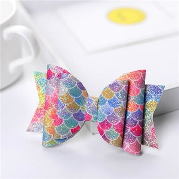 3.5'' Colorful Mermaid Women Baby Girl Glitter Hair Bow Kids Hairpins Hair Clip For Children Hair Accessories Toddler Headwear