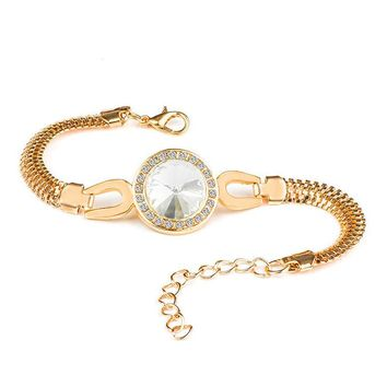 H:HYDE Charm Bracelet Gold Color Chain Bracelet For Women Round Hollow Crystal Braclets Bangles Fashion Jewelry Adjustable