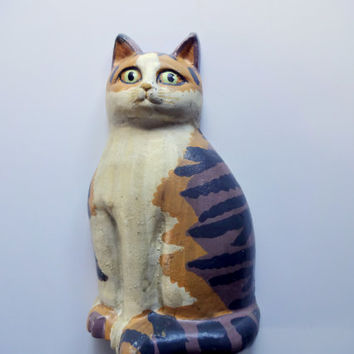 Vintage Cast Iron Calico Cat Door Stop 1980s