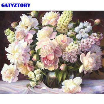 GATYZTORY Frameless Picture White Flowers DIY Painting By Numbers Modern Home Wall Art Canvas Painting For Home 40x50cm Artwork