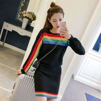 Two Piece Dress Women Rainbow Striped Long Sleeve Pullover Knitted Split Pencil Skirt Clothing Set 4167