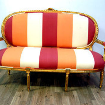 Antique Orange Stripe Gilted Couch by metrosofa on Etsy