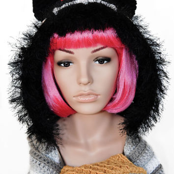 Tac Nayn Hooded Crochet Scarf- Nyan Cat- Meme- Kawaii- Women Crochet Hat-Crochet Scarf- Crochet Hat
