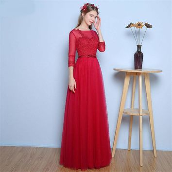 Rose Red Bridesmaid Dresses with Fashion Lace Applique Sheer Illsion Tulle Neck Long Brides Maid Dress Half Sleeves