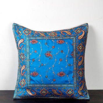 Embroidery Cushion Cover, Applique Cushion Cover, Embroidered Cushion Cover, Blue Cushion Cover