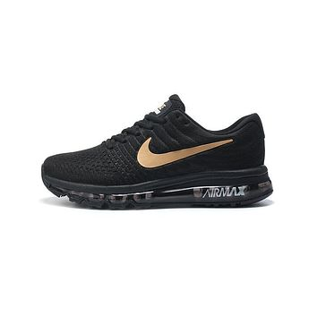 NIKE AirMax Trending Men Personality Sports Air Cushion Running Shoes Sneakers Black(Gold Hook) I
