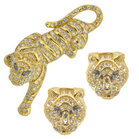 Vintage Trifari Tiger Brooch and Earrings Set | SOPHIESCLOSET.COM | Designer Jewelry & Accessories