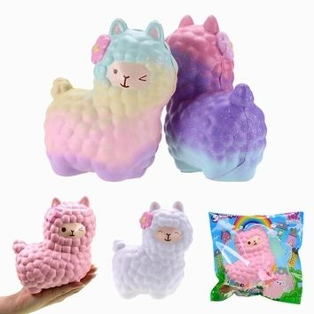 17*13cm Jumbo Sheep Squishy Cute Alpaca Galaxy Super Slow Rising Scented Fun Animal  Toys