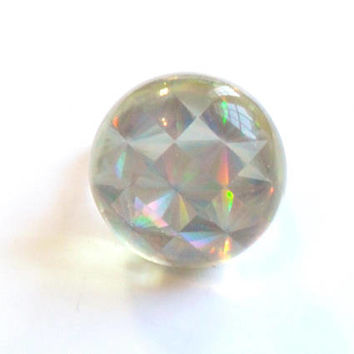 Vintage Holographic Dome Ring - Adjustable Silver Tone Band - Acrylic Plastic - 90s Vintage - Raver Style - Psychedelic Kitsch - 1990s