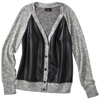 Mossimo® Women's Cardigan with Faux Leather Front -Gray