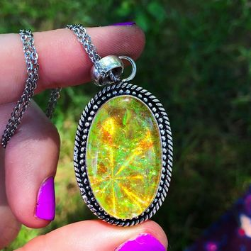 Yellow Holographic Sparkle Dichroic Glass Necklace (925 Stamped)