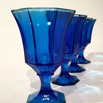 Independence Cobalt Blue Goblets, Set of 4 Vintage Blue Wine Glasses, Blue Glass Octagonal Glasses
