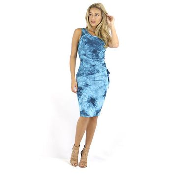 TieDye Turquoise  Ruched Bodycon Tank Dress