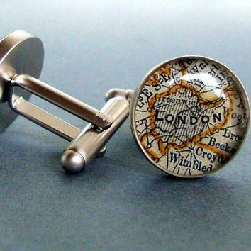 Wedding  Cufflink Set  Vintage Maps Sterling by sherrytruitt