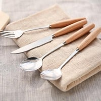 Wooden Handle Dinnerware Set Stainless Steel Plated Silver Knife Fork Tableware Cutlery Luxury European Western Food Set 4pcs