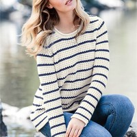Waffle Stripe Sweater by Ellos® | Plus Size All Tops | Woman Within