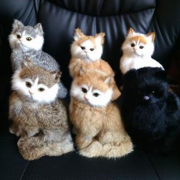 Cat Stuffed Toy Simulation Real Cat With Lifelike Meow Sounds - 21X17CM or 8.3x6.7in