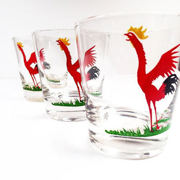 Vintage Red Rooster Rocks Glass Bar Ware Drinkware by Federal Glass Set of 3 glasses, 6 oz size.