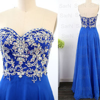 Strapless Prom Dresses, Custom Lace and Chiffon Long Formal Gown, Strapless Sweetheart Royal Blue Long Prom Gown, Wedding Party Dresses