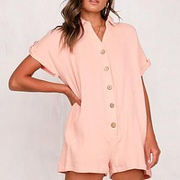 Casual Playsuits Women Solid High Fashion Beach Romper Playsuits Button Playsuit Rompers