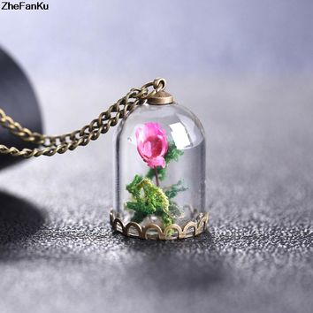 2017 Glass Dried Flower Bottle Copper Necklace Rose Valentine'S Day Gift Handmade Beauty Beast Party Jewelry