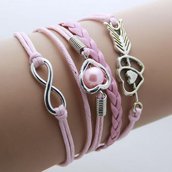 Hearts and Pearl - pink Leather Wrap Infinity Bracelet