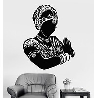 Vinyl Wall Decal Indian Dancer Bride Woman Head Devadasi Hindu Unique Gift (773ig)