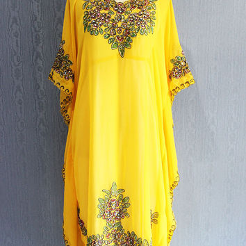 Yellow Dubai Abaya Sequin Caftan Maxi Dress Moroccan Evening Wear Maxi Gold Embroidery Dress Floral Maternity Dress