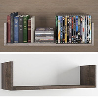 Contemporary Design U Shape Floating DVD , Cd and Book Solid Wood Wall Shelf Rack , Walnut Stained ...