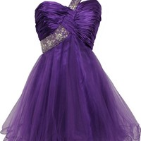 Goddess Beaded One-Shoulder Mesh Party Dress Prom Gown, XL, Purple