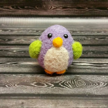 Mini Needle Felted Bird - Popcorn Birdie - Needle Felting Sculpture - Felted Bird - Soft Animal - Handmade Art