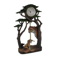 Leopard Family Bonsai Tree Forest Sculptural Pendulum Clock - Walmart.com