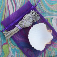 TRAVEL SMUDGE SET - Small White Sage Stick, Sea Shell, Instructions on How to Smudge