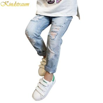 Kindstraum Boys & Girls Ripped Jeans Spring & Summer Style 2017 Trend Denim Trousers for Kids Children Distrressed Pants, HC822