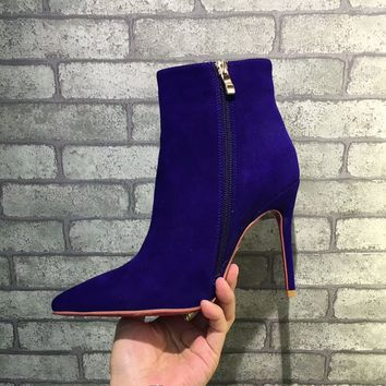 Best Online Sale Christian Louboutin CL Top Suede Ankle Boot Blue