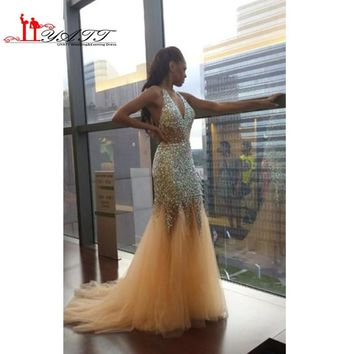 2016 Sexy New Halter Tulle Mermaid Prom Dresses Illusion Rhinestones Beaded Backless Floor Length Party Evening Dresses