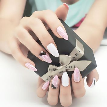 Pink Cute Long Sharp False Nails 24pcs/set Butterfly Lady Stiletto Acrylic Nail Tips With GLue Diagnostic Tool Manicure Products