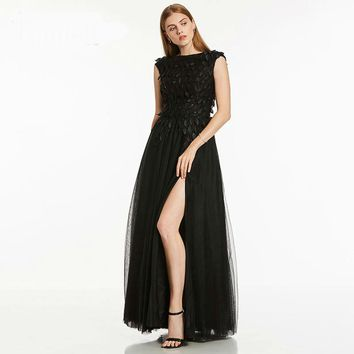 Split front evening dresses black cap sleeves floor length a line gown women beaded prom party formal long evening dress