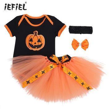 3PCS Infant Baby Girls' Adorable Halloween Cosplay Pumpkin Outfits Ruched Shoulder Romper with Tutu Skirt and Headband SZ 0-12 M