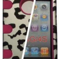 Comparable to Otterbox Defender Series Hybrid Case for Iphone 4 & 4s - Peony Pink Gunmetal Gray - In Package