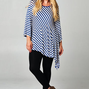 Plus Size Asymmetrical Stripe Tunic