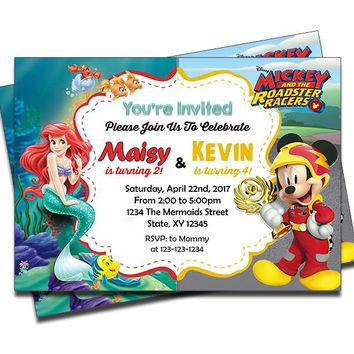 Little Mermaid and Mickey Mouse Roadster Racers - Double Birthday Invitations